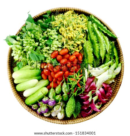 Colorful Asian Vegetables isolated on white background. - stock photo
