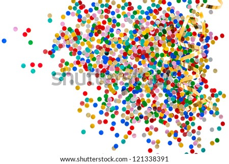 colorful assorted confetti with golden serpentine on white background. red, blue, green, yellow, pink, gold - stock photo