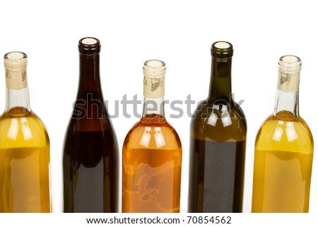 Colorful Assorted Wine Bottles Isolated on a White Background