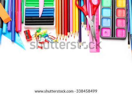 colorful assortment school supplies isolated white background
