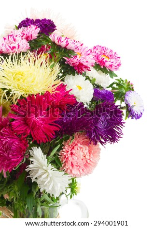 colorful  aster flowers bouquet in glass  vase close up isolated on white background - stock photo
