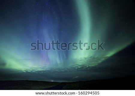 Colorful Aurora display in western Iceland - stock photo