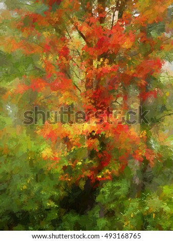 Colorful Autumn Abstract of the Pennsylvania woods turned into a painting