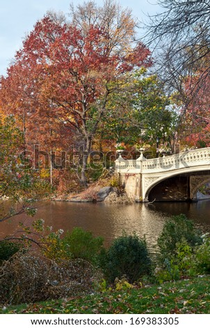 Colorful autumn at Central Park, New York - stock photo