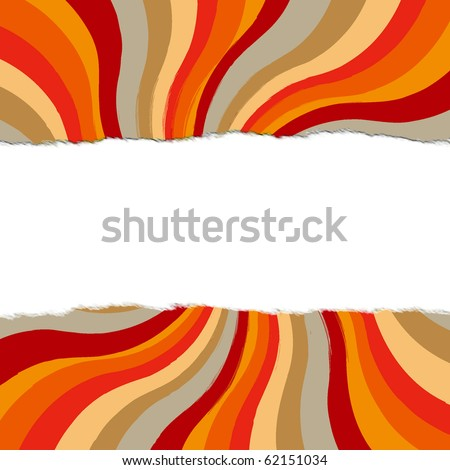 Colorful autumn colors in starburst pattern with blank and torn effect for your text, matching solid illustration in galler - stock photo