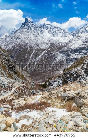 Colorful autumn in Yading national level reserve, Daocheng, Sichuan Province, China landscape background - stock photo