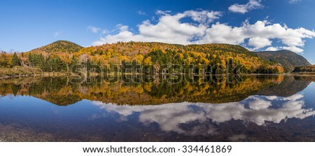 Colorful Autumn landscape and reflection in White mountain National forest, New  Hampshire. - stock photo
