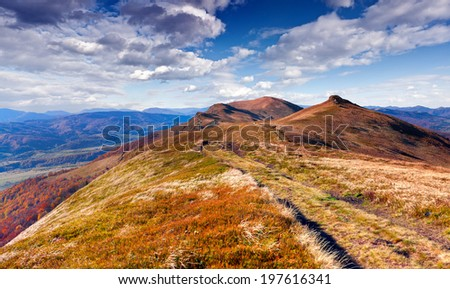 Colorful autumn landscape in the Carpathian mountains. Geolocation 48.902756,22.900829