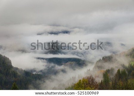 Colorful autumn landscape in the mountain village, morning in Dolimites. Selva di Cadore. Selva di Cadore is in the province of Belluno in the Italian region of Veneto,northwest of Belluno.