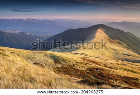 Colorful autumn landscape in the mountains. Geolocation 48.495806,23.698089 - stock photo