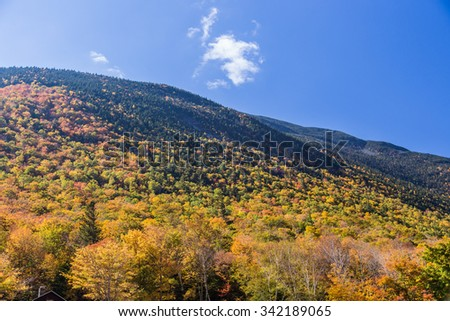 Colorful Autumn landscape in White mountain National forest, New  Hampshire. - stock photo