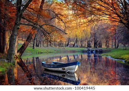 Colorful autumn landscape.Nature background - stock photo