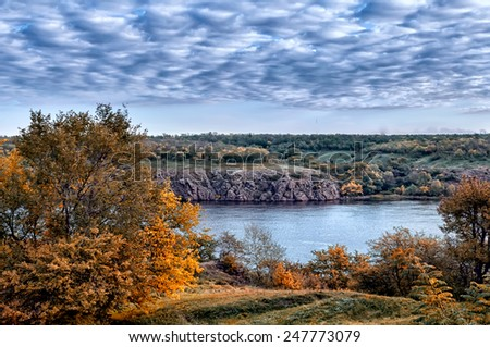 Colorful autumn landscape.Nature background. - stock photo