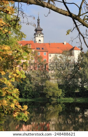 Colorful autumn medieval Town Pisek above the river Otava, Czech Republic