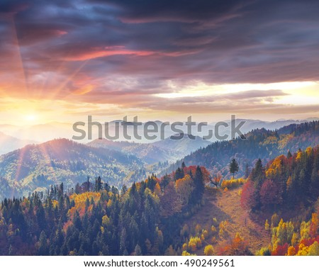 Sunrise Mountains Stock Images RoyaltyFree Images Vectors - This man hikes up the transylvanian mountains every morning to photograph sunrise