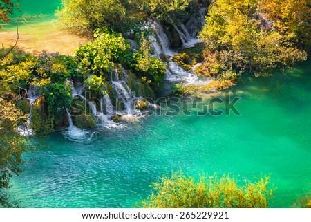 Colorful autumn morning in the Plitvice Lakes National Park. Croatia. Europe.  - stock photo