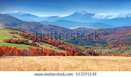 Colorful autumn panorama of the mountain village - stock photo