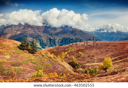 Colorful autumn scene in the Caucasus mountains. Beautiful landscape in the Upper Svaneti, Georgia, Europe. Artistic style post processed photo.