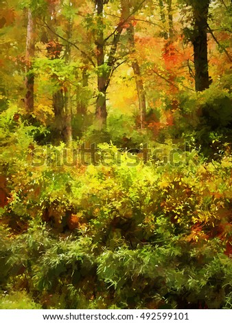 Colorful Autumn scene in the Poconos transformed into a painting