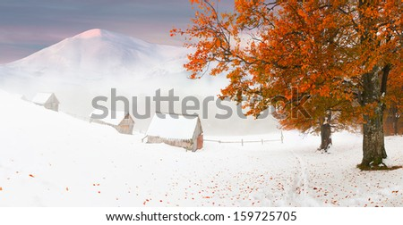 Colorful autumn sunset in the mountains. - stock photo