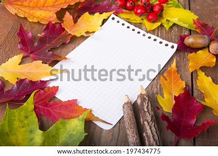 Colorful autumn template made of foliage and the piece of blank paper - stock photo