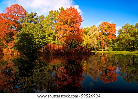 Colorful autumn trees reflected at the small pond - stock photo
