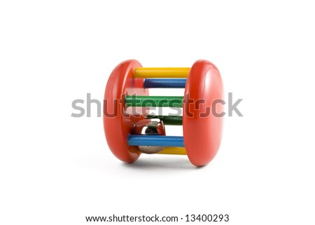 colorful baby toy isolated on white background - stock photo