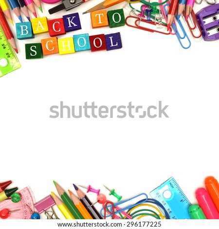 Colorful Back to School wooden blocks with school supplies double border over white - stock photo