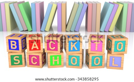 Colorful Back to School wooden toy blocks with group of book over white background - stock photo