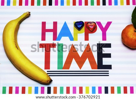 colorful background about happy time with fruits - stock photo