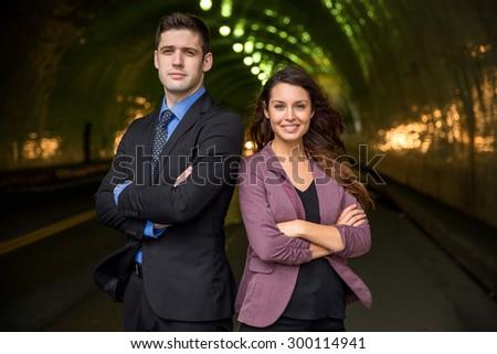 Colorful background business executive legal team portrait confidence success power - stock photo