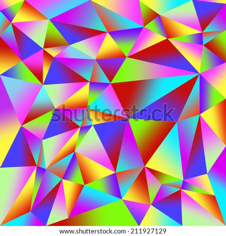 Colorful background from many multicolored triangles - stock photo