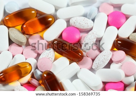 Colorful background from various kinds of pills