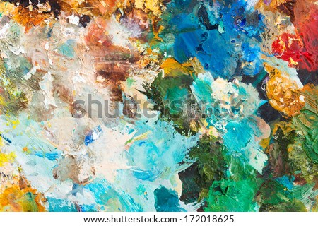 Colorful background made oil paints on a wooden background - stock photo