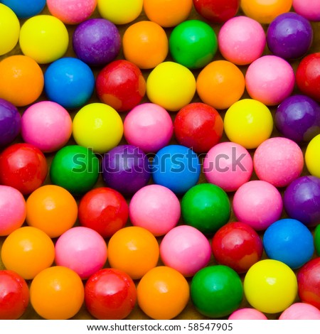 Colorful background of assorted Gumballs - stock photo