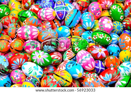 Colorful background of eastern eggs - stock photo