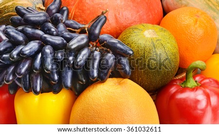 colorful background of fruits and vegetables - stock photo