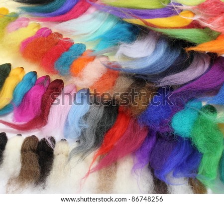 Colorful background of Merinos wool samples