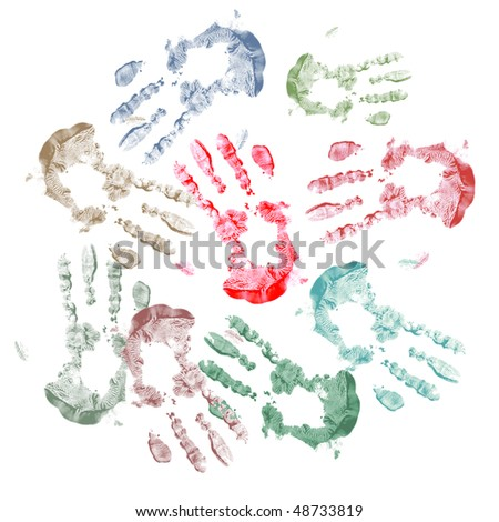 Colorful background of painted handprints - stock photo