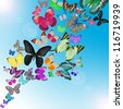 Colorful background with butterfly - stock photo