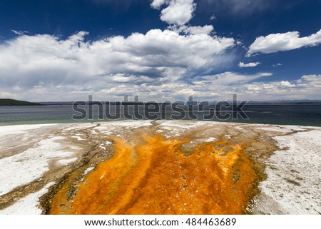 Colorful bacteria mats form in hot water runoff, Yellowstone Lake, West Thumb Geyser Basin, Yellowstone National Park, Wyoming