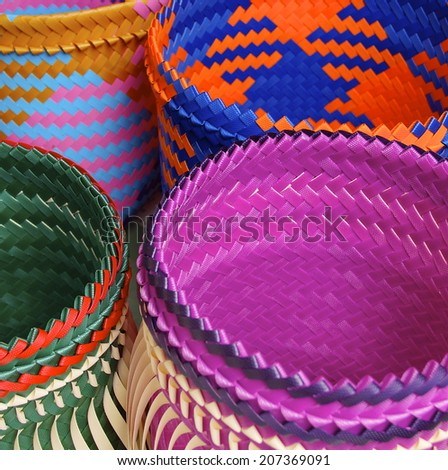 Colorful bags closeup in traditional aboriginal sewing - stock photo