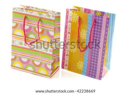 Colorful bags isolated on a white background - stock photo