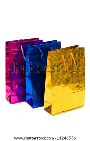 Colorful bags isolated on the white background