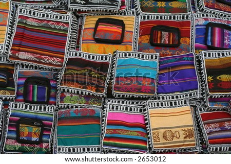 Colorful bags on the market at Otavalo, Ecuador