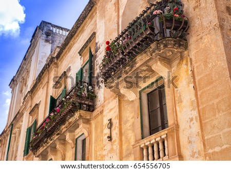 Colorful balconies in the old capital of malta - Midina / Rabat