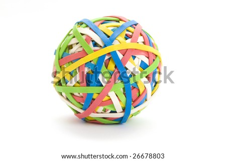 Colorful ball of many bands - stock photo