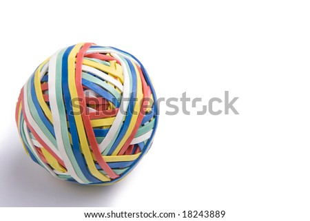 Colorful ball of rubber bands on a white background.