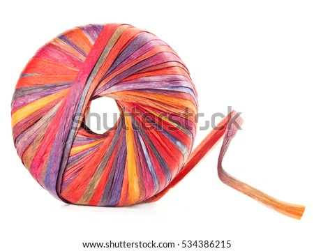 Colorful ball of yarn isolated on white