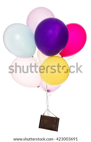 colorful ballons with a old board, copyspace, isolated on white - stock photo